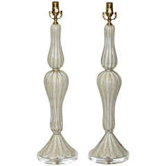Pair of Tall Murano White and Gold Controlled Bubble Table Lamps