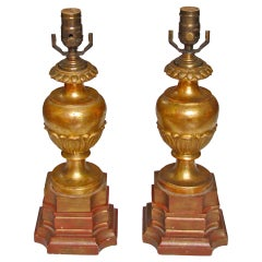Pair of Italian Carved Wood Water Gilt Lamps