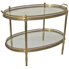 French Brass Oval 2 Tier Side Table Removeable Tray