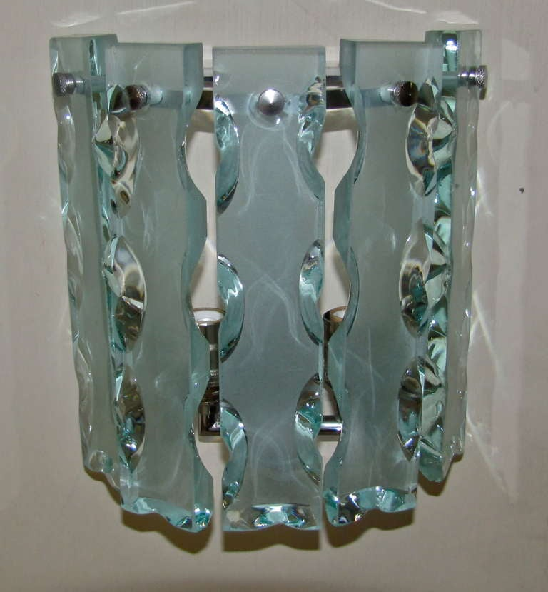 Glass For Wall Sconces : Pair Fontana Arte Style