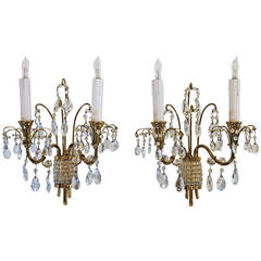 Pair of Lobmeyr Brass Bouquet Crystal Sconces