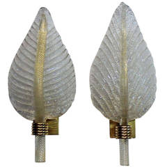 Pair of Barovier Gold and Clear Murano Glass Leaf Wall Sconces