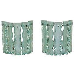 "Pair Fontana Arte Style ""Broken Glass"" Wall Sconces"
