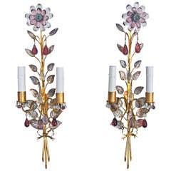 Pair Bagues Floral Gilt Bronze Wall Sconces