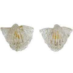 "Pair Seguso Murano Glass ""Conchiglia"" Wall Sconces"