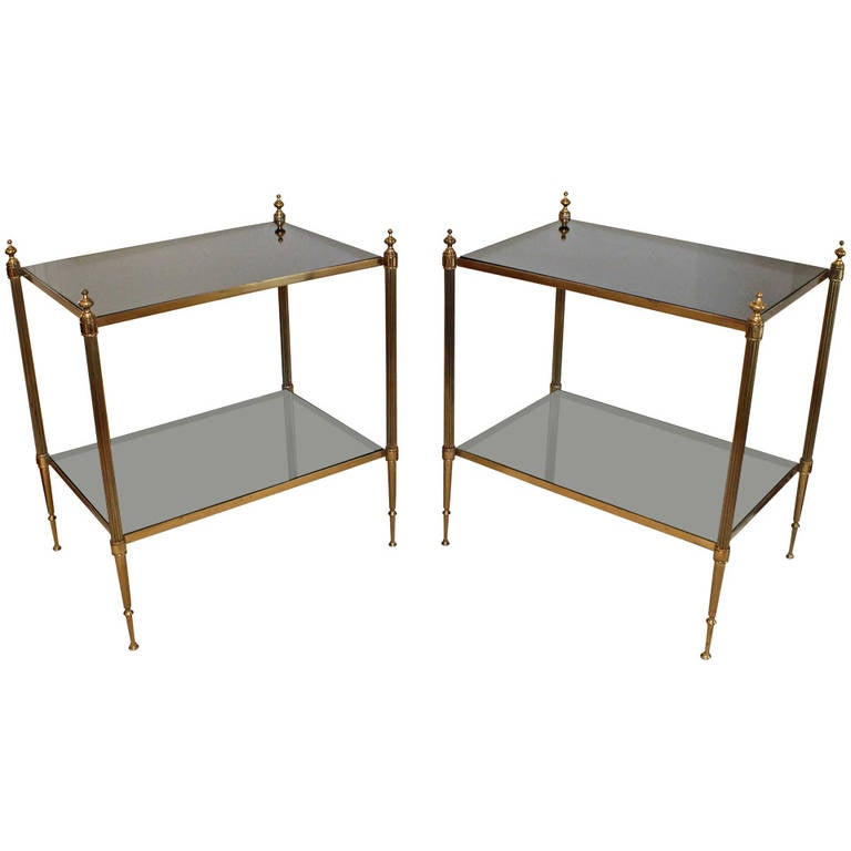 Pair of French Two-Tier Brass Side or End Tables