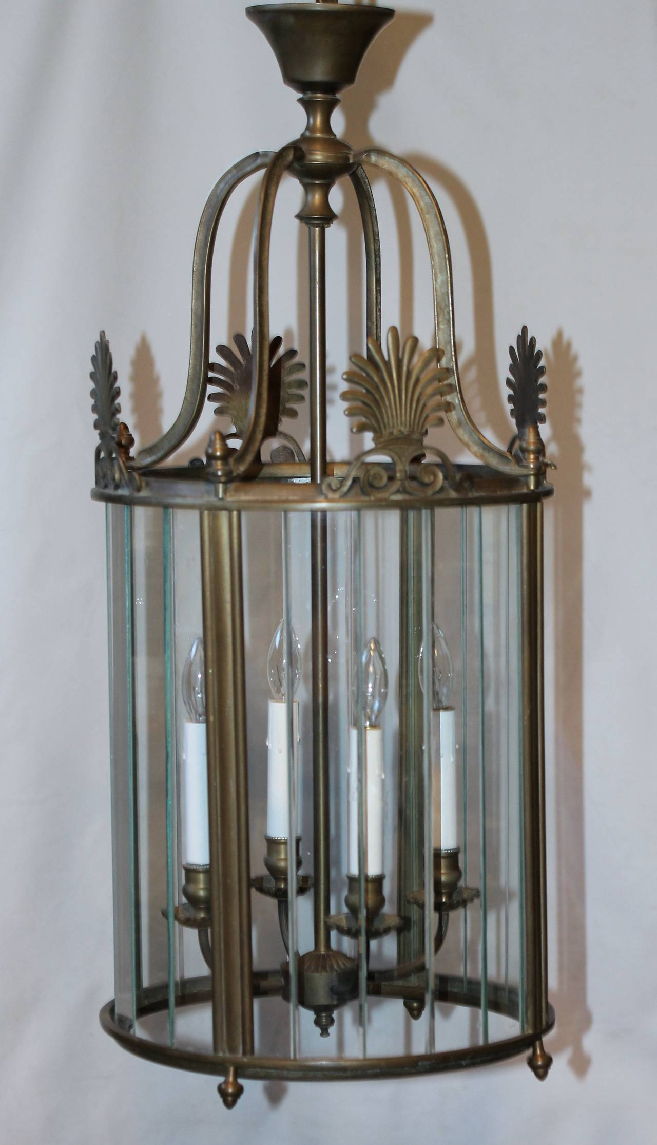 Large Italian Neoclassic Bronze Hall Lantern Pendant Light In Good Condition For Sale In Dallas, TX