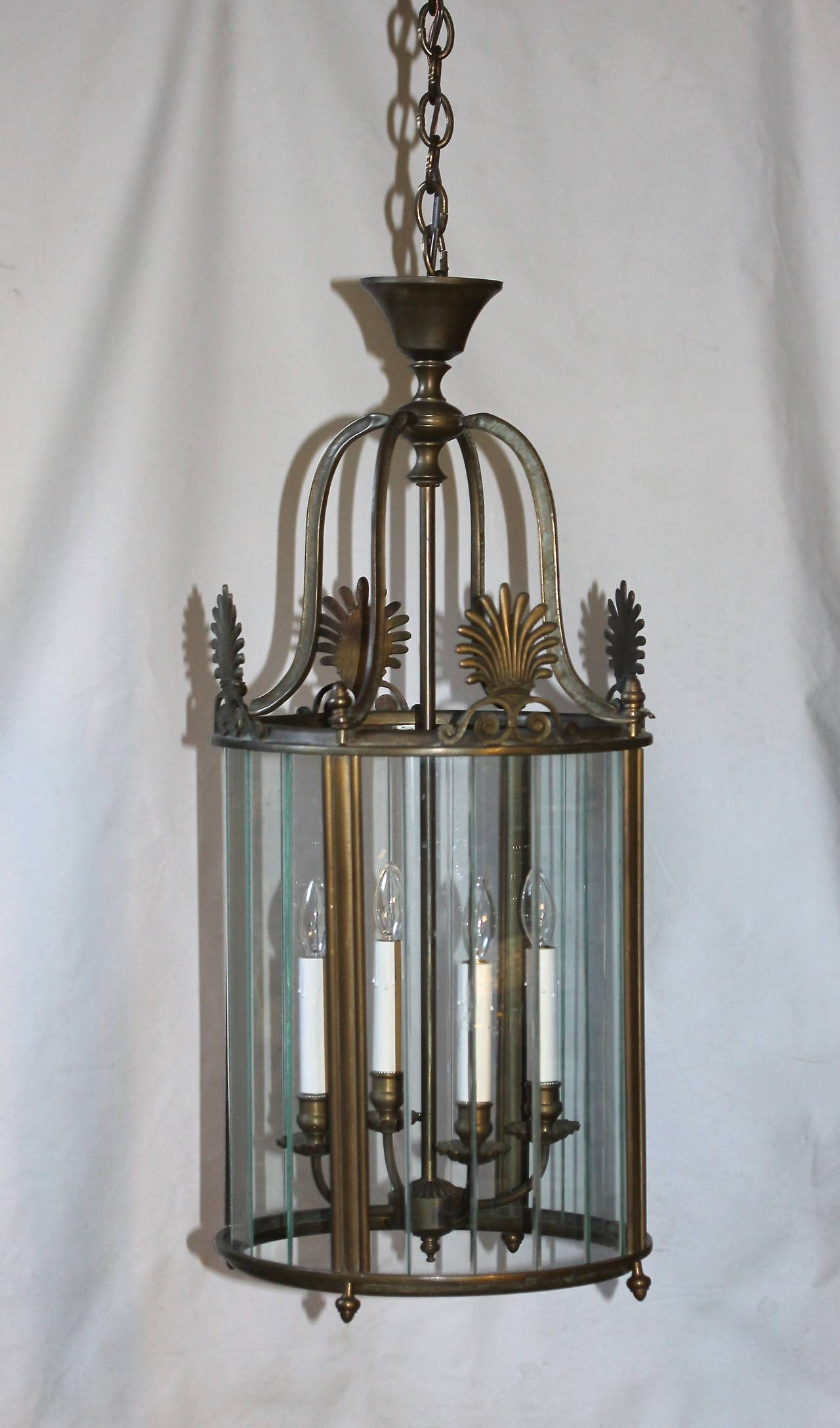 Large Italian Neoclassic Bronze Hall Lantern Pendant Light For Sale 2