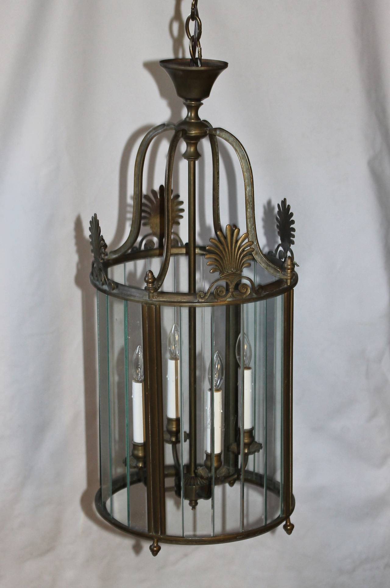 Mid-20th Century Large Italian Neoclassic Bronze Hall Lantern Pendant Light For Sale