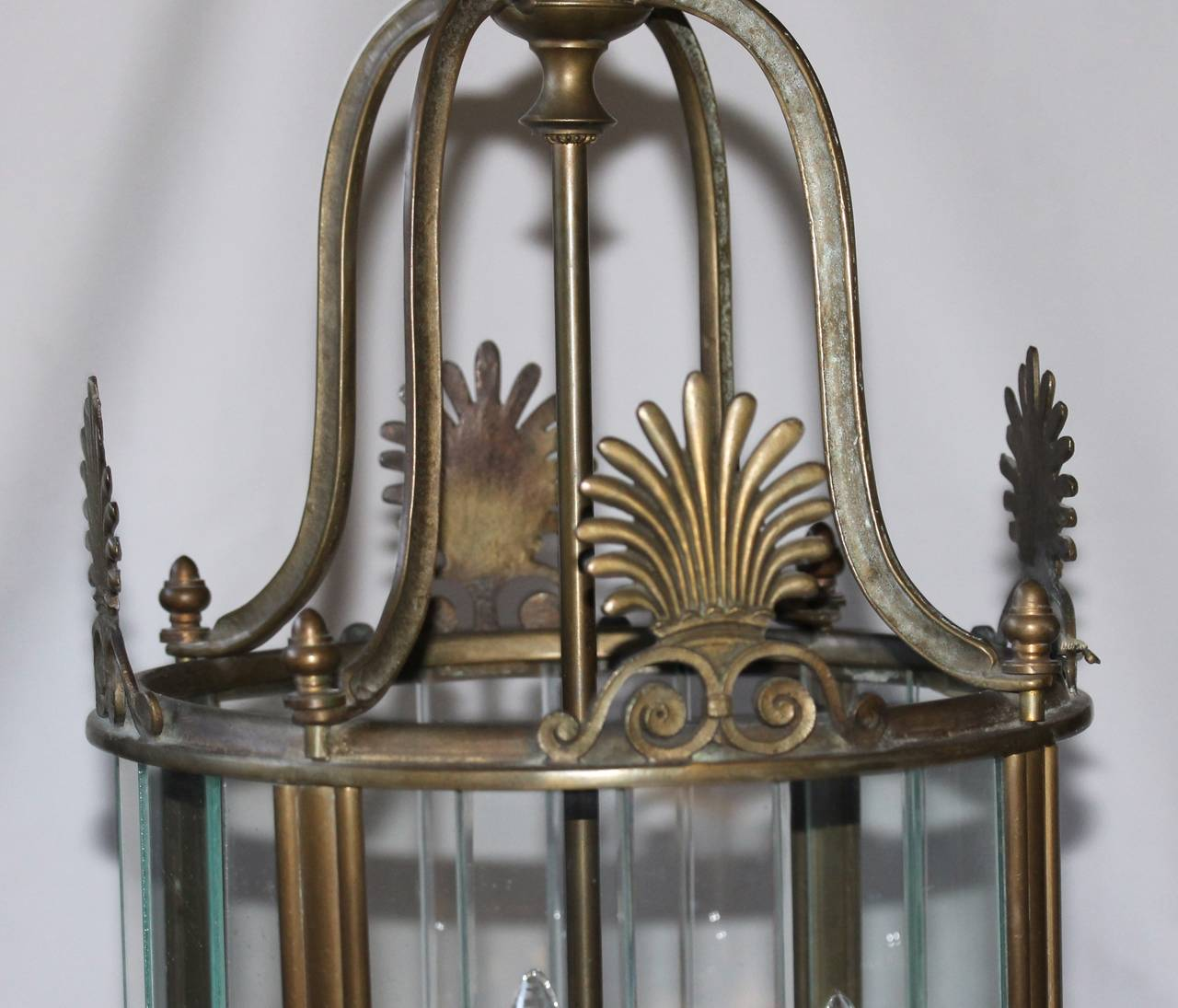 Large Italian Neoclassic Bronze Hall Lantern Pendant Light For Sale 1