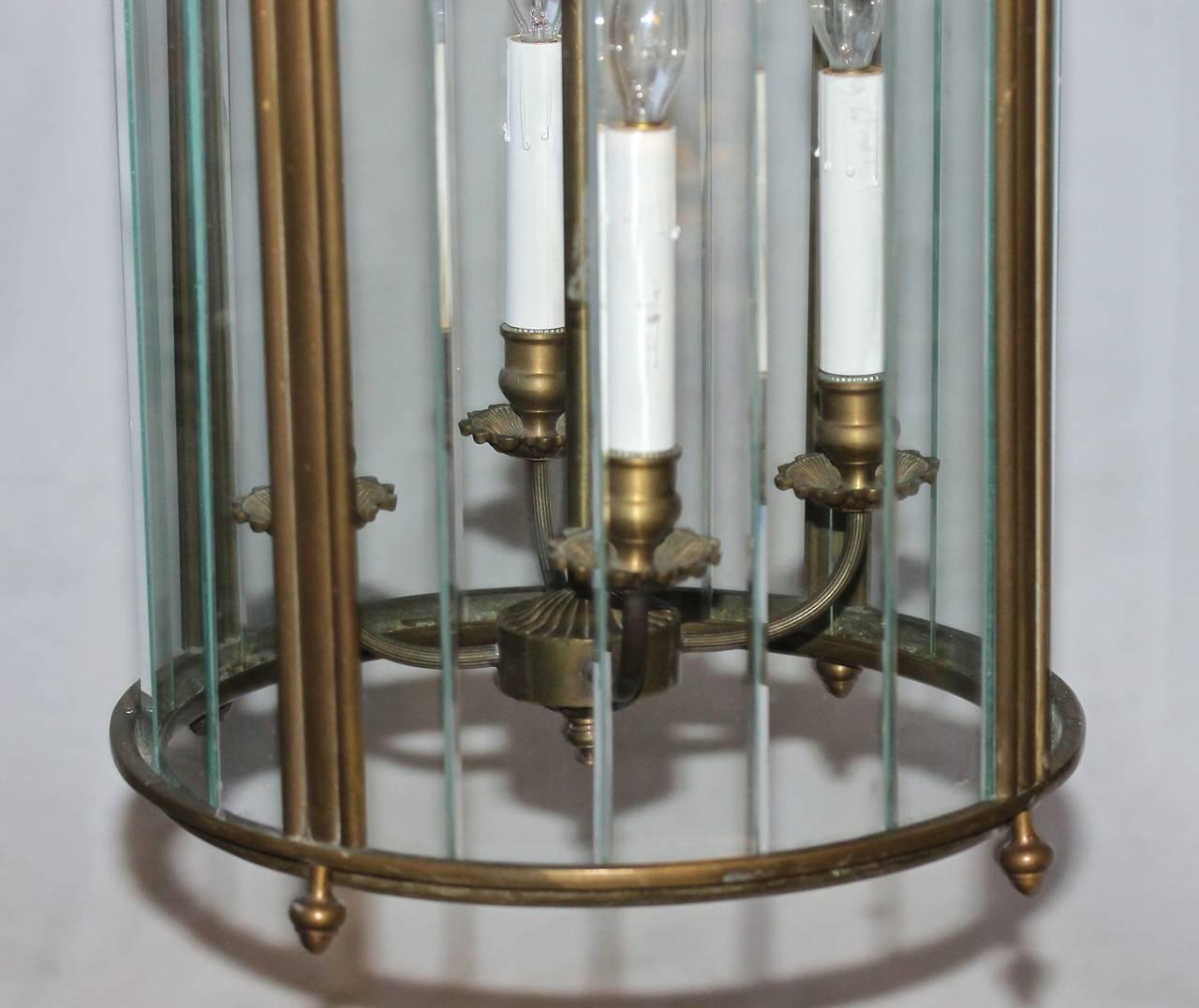 Large Italian Neoclassic Bronze Hall Lantern Pendant Light For Sale 3