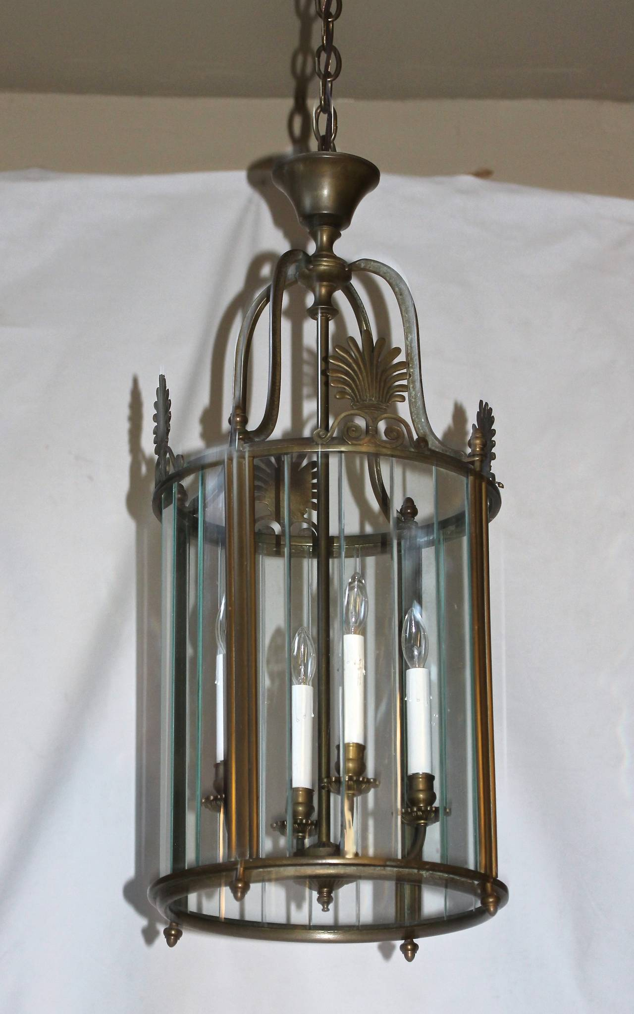 Large Italian Neoclassic Bronze Hall Lantern Pendant Light For Sale 6