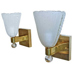 Pair of Murano Satin Control Bubble Wall Sconces