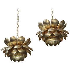 Pair Large Rare Feldman Brass Lotus Chandeliers or Pendants