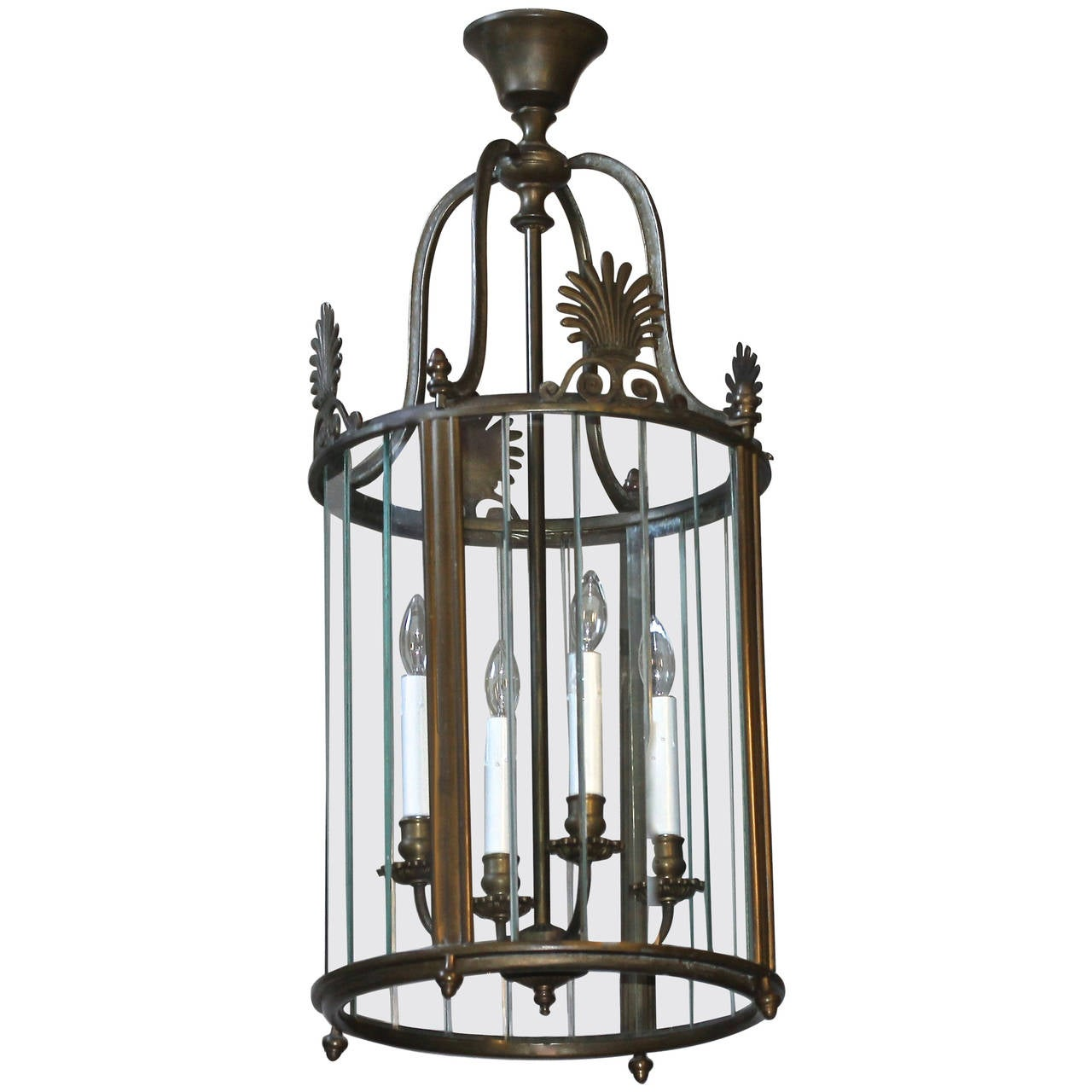 Large Italian Neoclassic Bronze Hall Lantern Pendant Light