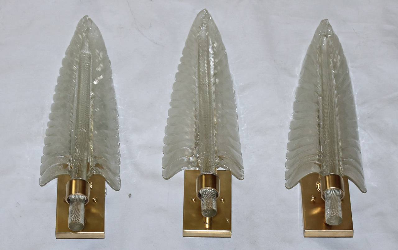 Wall Sconces With Leaves : Three Barovier Italian Glass Leaf Wall Sconces at 1stdibs
