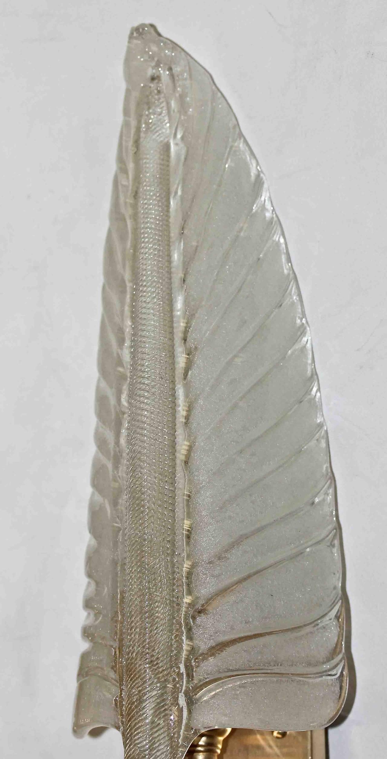 Three Barovier Italian Glass Leaf Wall Sconces at 1stdibs
