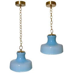Pair Italian Murano Pale Blue Glass Ceiling Light Pendants