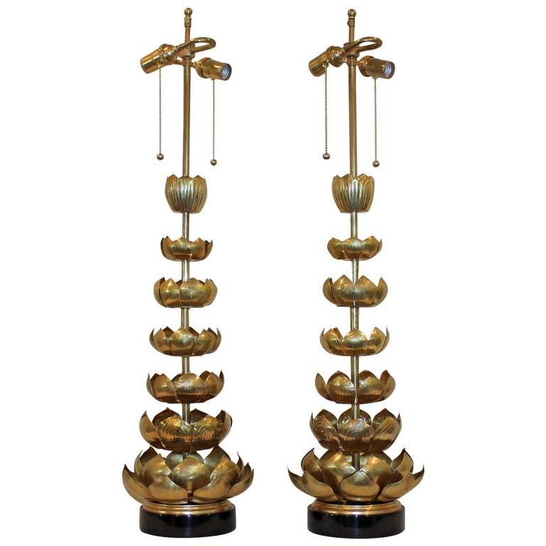 Pair Of Tall Brass Lotus Feldman Company Table Lamps 1