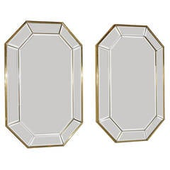 Pair Brass Framed Wall Mirrors Italian