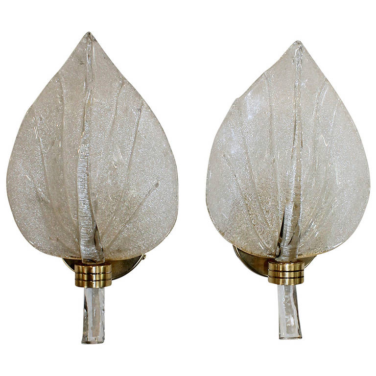 Pair of Barovier Murano Italian Glass Leaf Wall Sconces