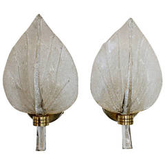 Pair of Barovier Murano Italian Glass Leaf Wall Sconces