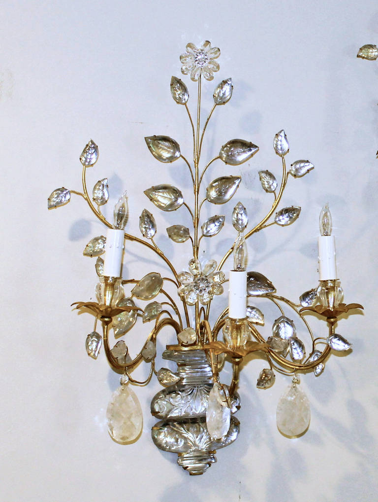 Exquisite Pair of Bagues, French Rock Crystal Gilt Wall Sconces at 1stdibs