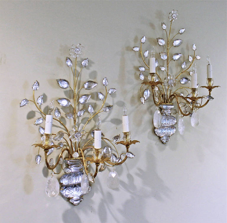Rock Crystal Wall Sconces : Exquisite Pair of Bagues, French Rock Crystal Gilt Wall Sconces at 1stdibs