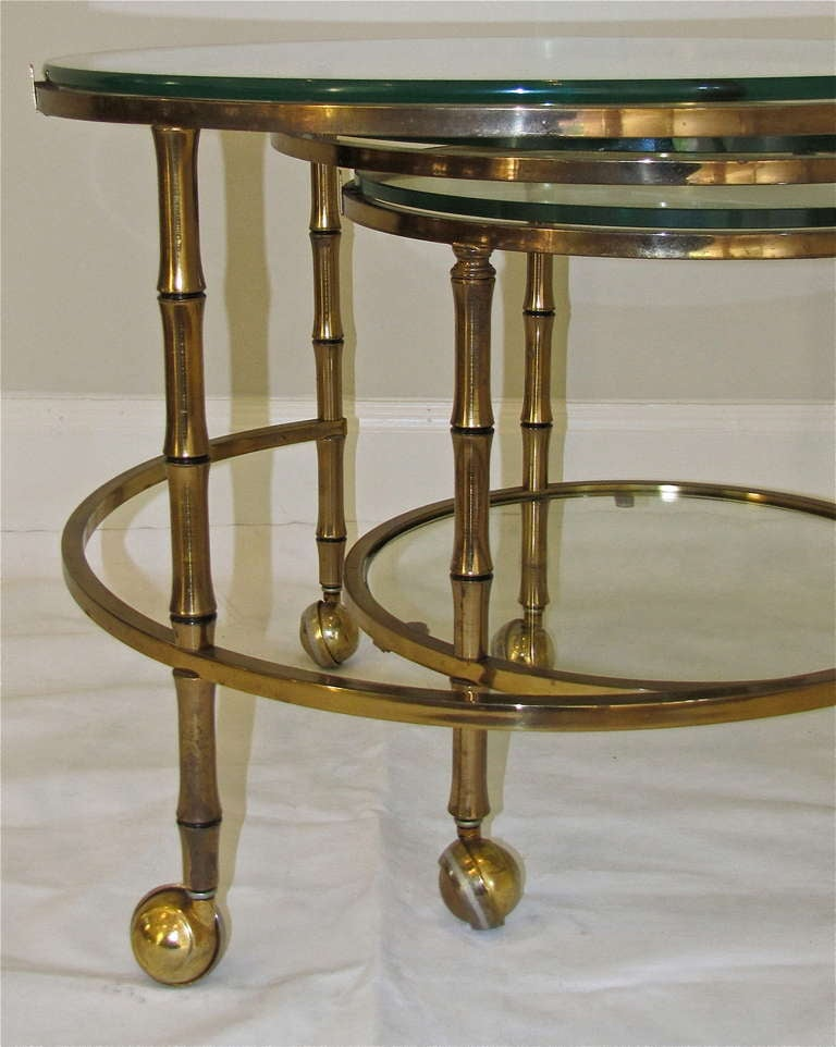 3 Tier Swivel Extending Faux Brass Bamboo Cocktail Table For Sale At 1stdibs