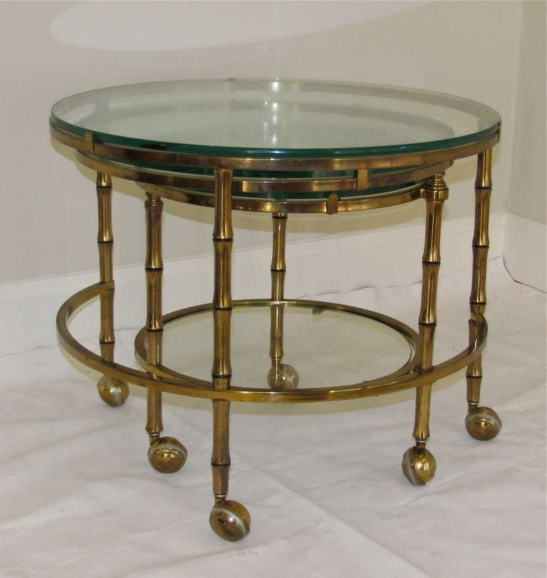 3 tier swivel extending faux brass bamboo cocktail table