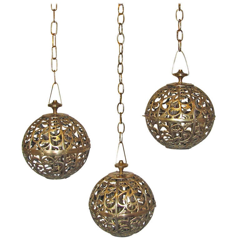 Trio Pierced Brass Asian Mid Size Ceiling Pendants For Sale