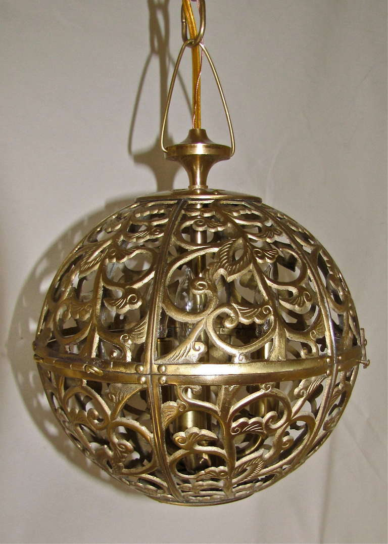 Japanese Trio Pierced Brass Asian Mid Size Ceiling Pendants For Sale