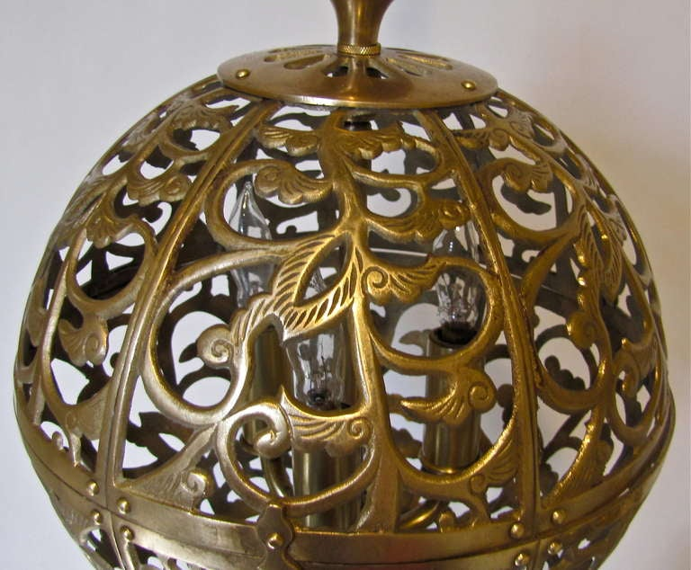 Trio Pierced Brass Asian Mid Size Ceiling Pendants For Sale 2
