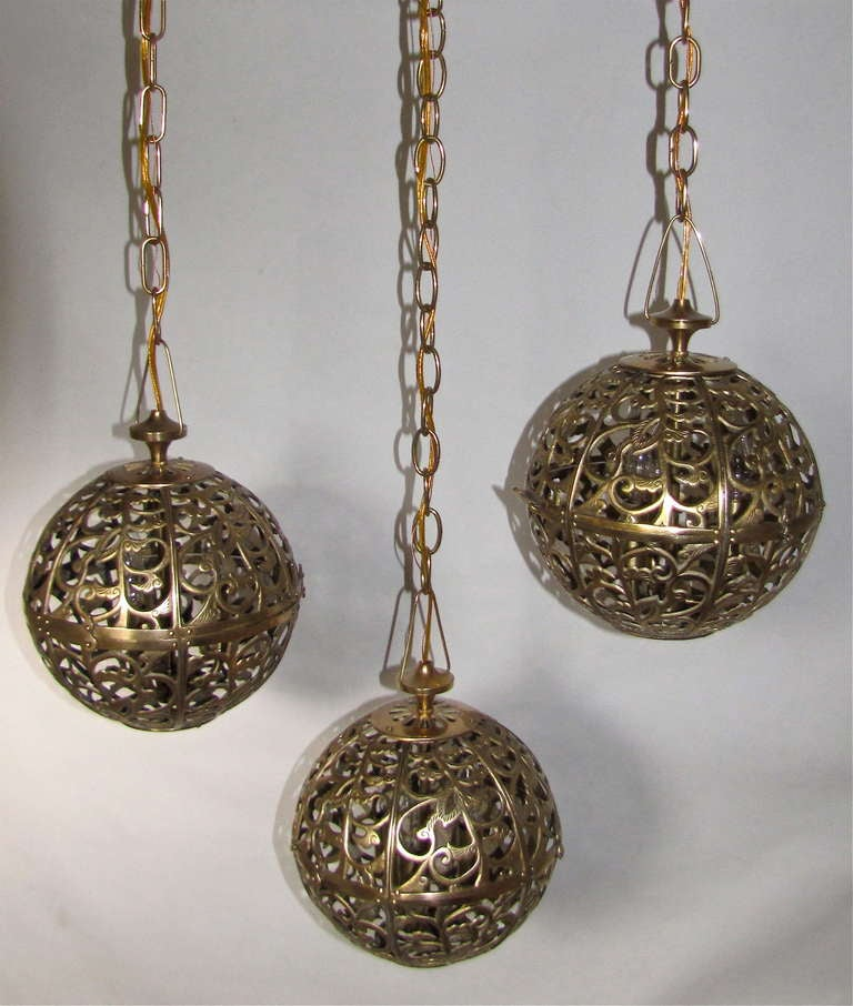 Trio Pierced Brass Asian Mid Size Ceiling Pendants For Sale 5