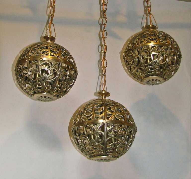 Trio Pierced Brass Asian Mid Size Ceiling Pendants For Sale 1