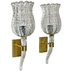 Barovier Murano Clear Glass Wall Sconces