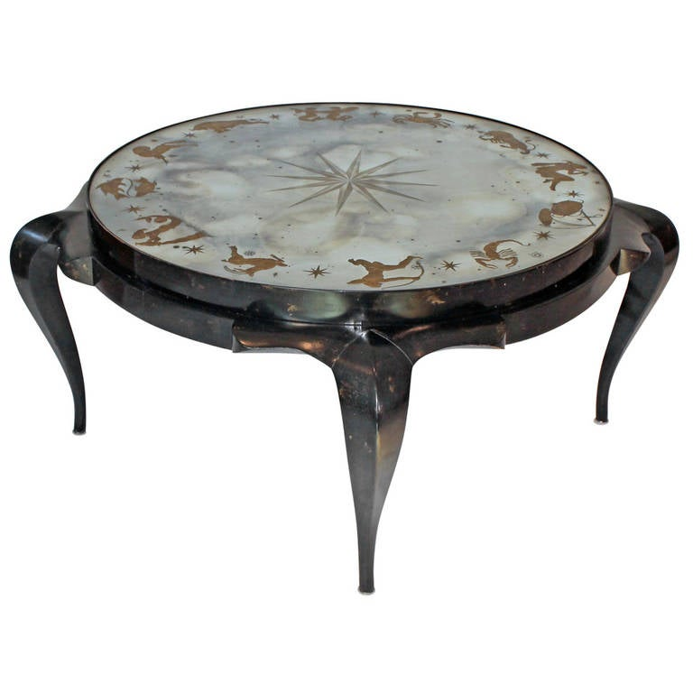 Exceptional Eglomise Zodiac Cocktail Table by Harriton