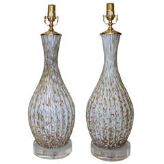 Pair Of Murano Glass White And Aventurine Table Lamps