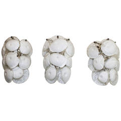 Trio Mazzega Murano White Clear Glass Wall Sconces
