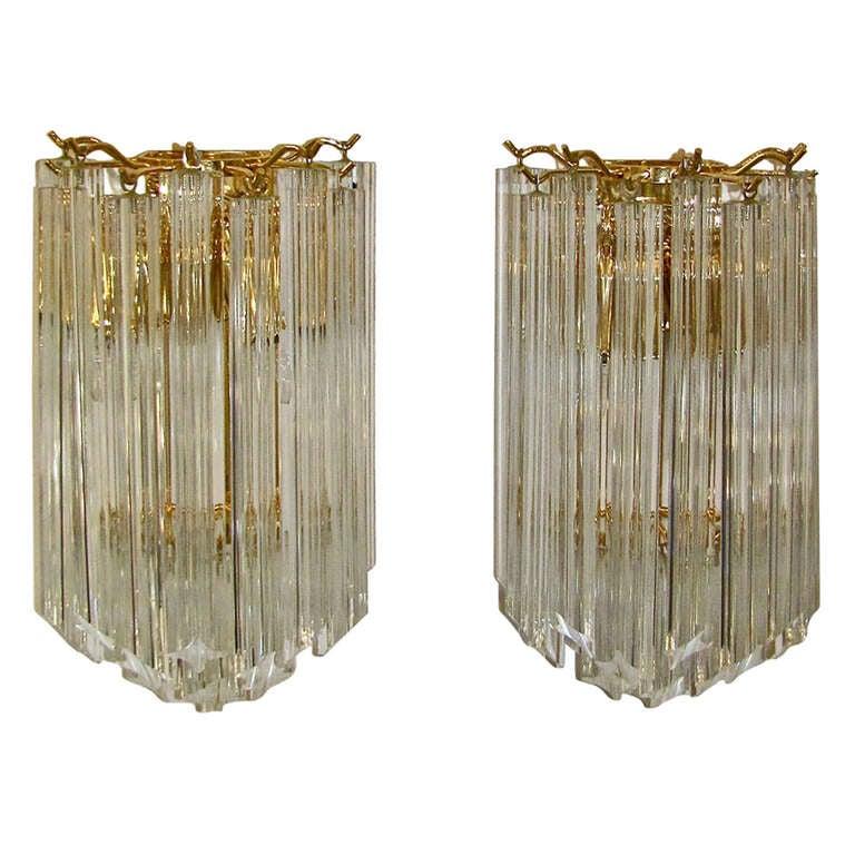 Murano Glass Wall Sconces : Pair Venini Triedi Murano Glass Wall Sconces at 1stdibs