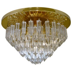 Huge Venini Triedi Murano Glass Prism Flush Mount Chandelier
