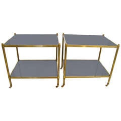 Pair French Brass Two Tier Side End Tables