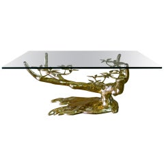 Rare Tree Form Willy Daro Brass Coffee Cocktail Table