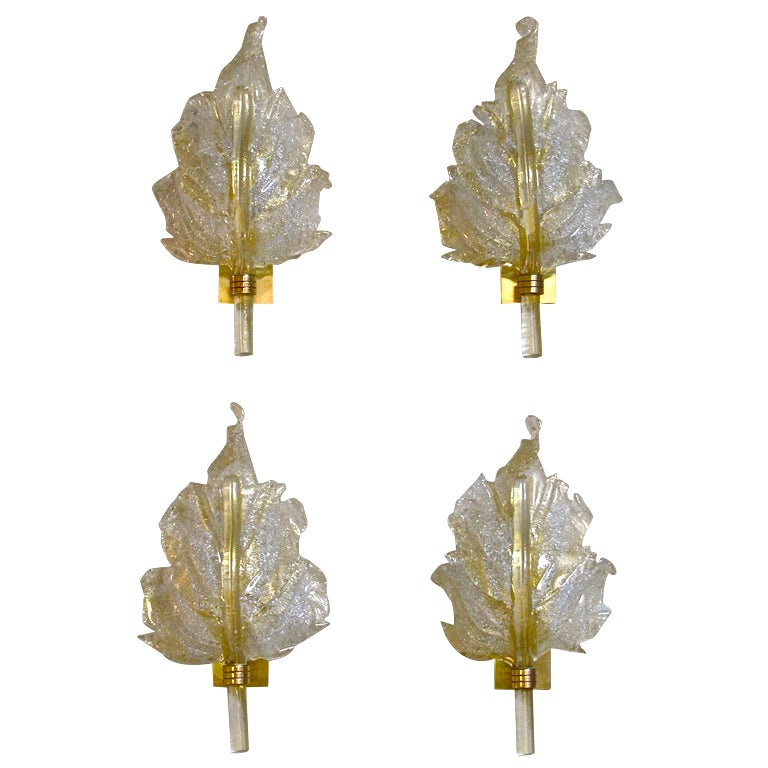 Italian Glass Wall Sconces : Set 4 Barovier and Toso Murano Italian Glass Leaf Wall Sconces at 1stdibs