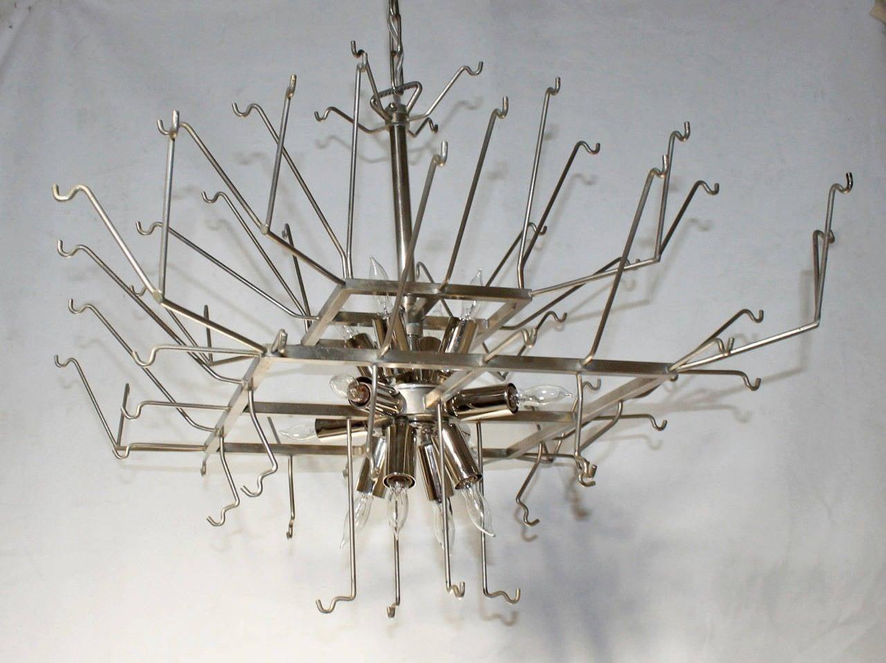 Mazzega Murano Iridescent Disc Glass Chandelier At 1stdibs