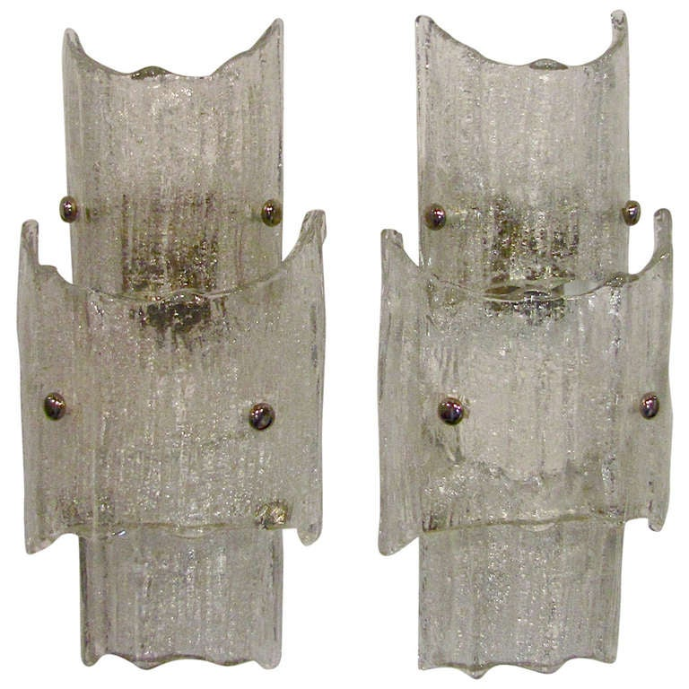 Pair of Kalmar Austrian Textured Clear Glass Wall Sconces