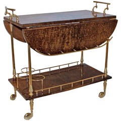 Aldo Turo Italian Lacquered Brown Goatskin Bar Cart