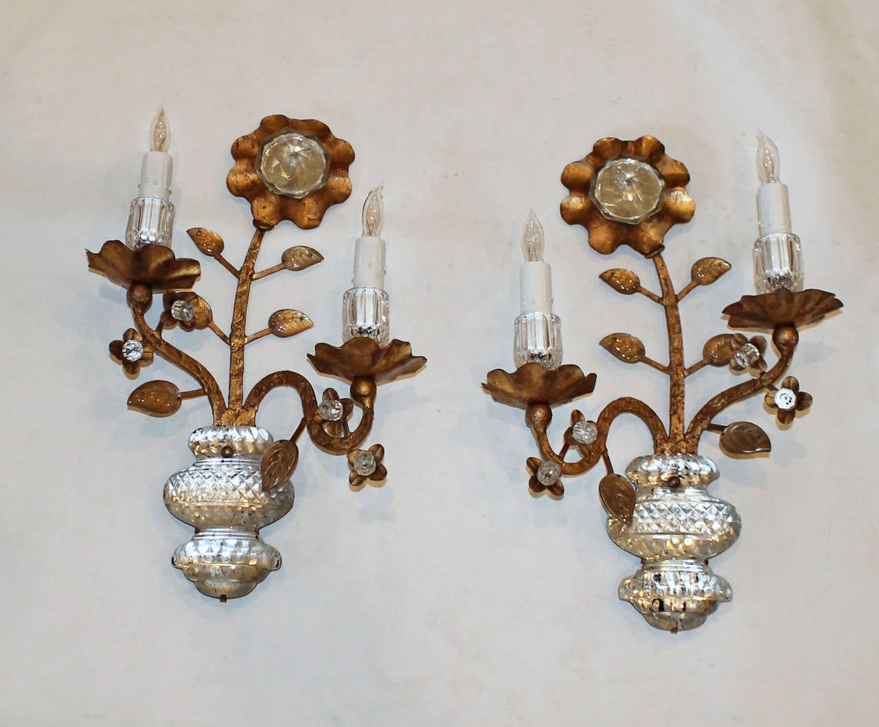Pair Gilt Floral and Urn Crystal Bagues Style Wall Sconces at 1stdibs