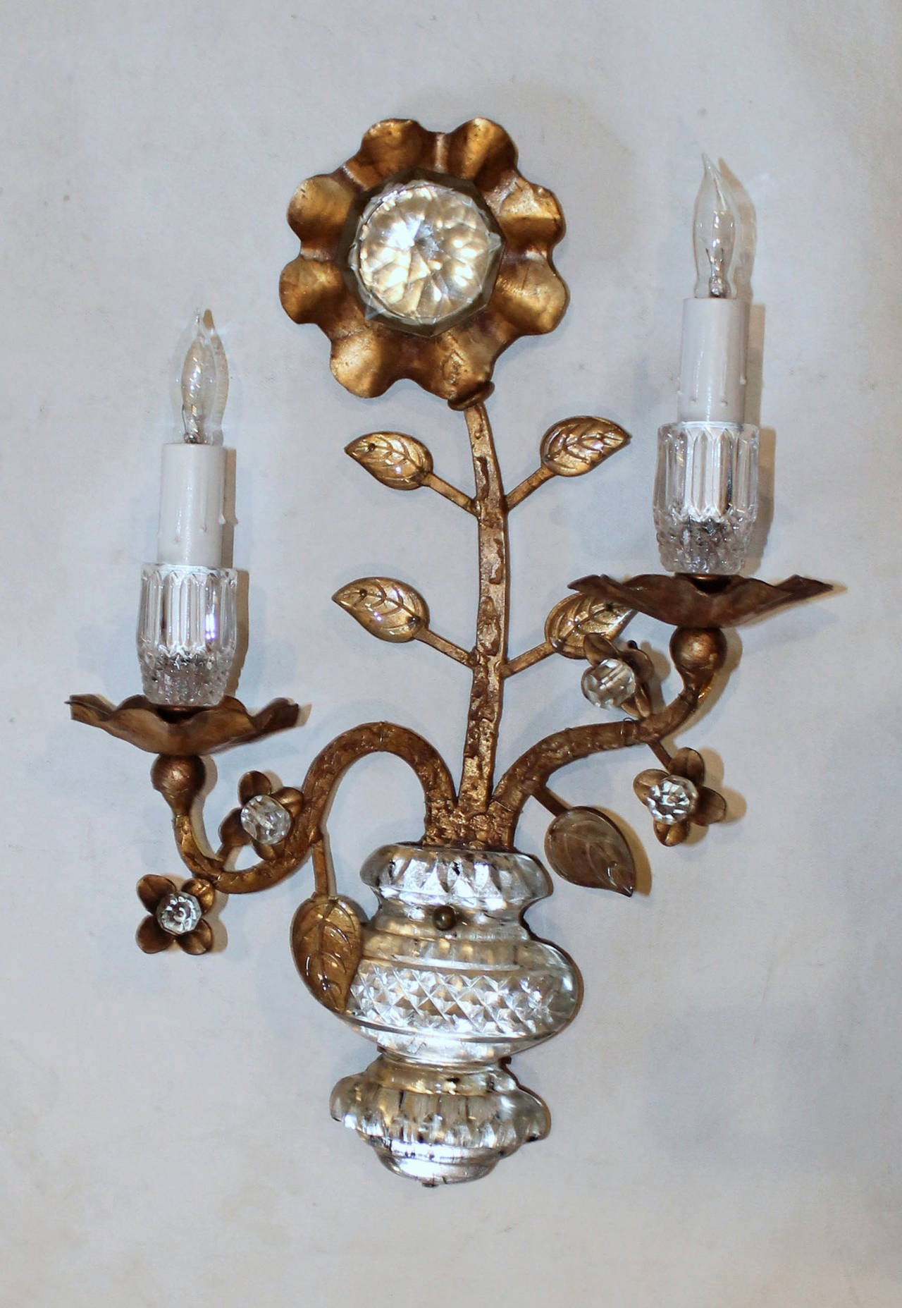 Wall Sconces That Hold Flowers : Pair Gilt Floral and Urn Crystal Bagues Style Wall Sconces at 1stdibs