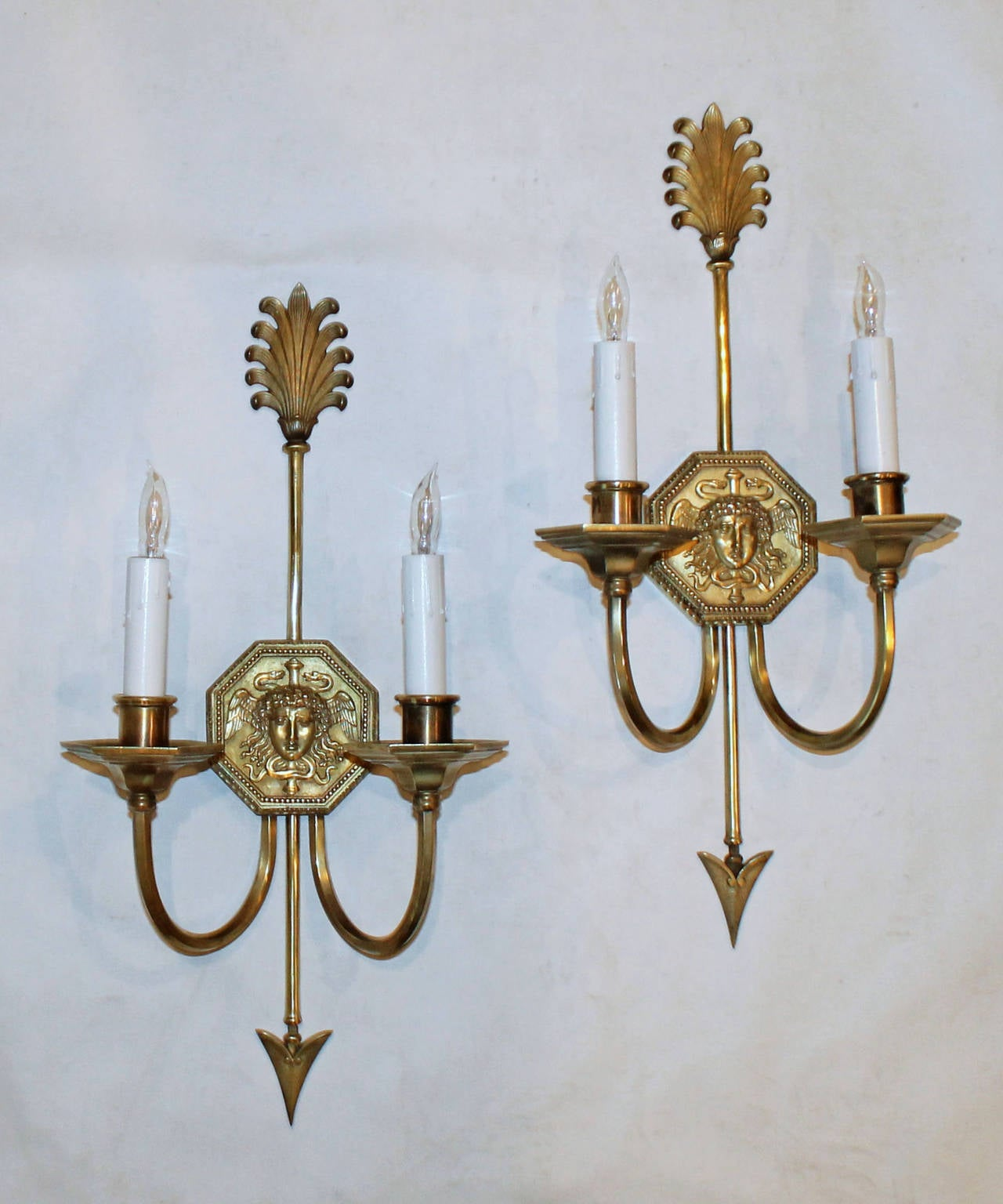 Pair French Empire Style Arrow Wall Sconces at 1stdibs